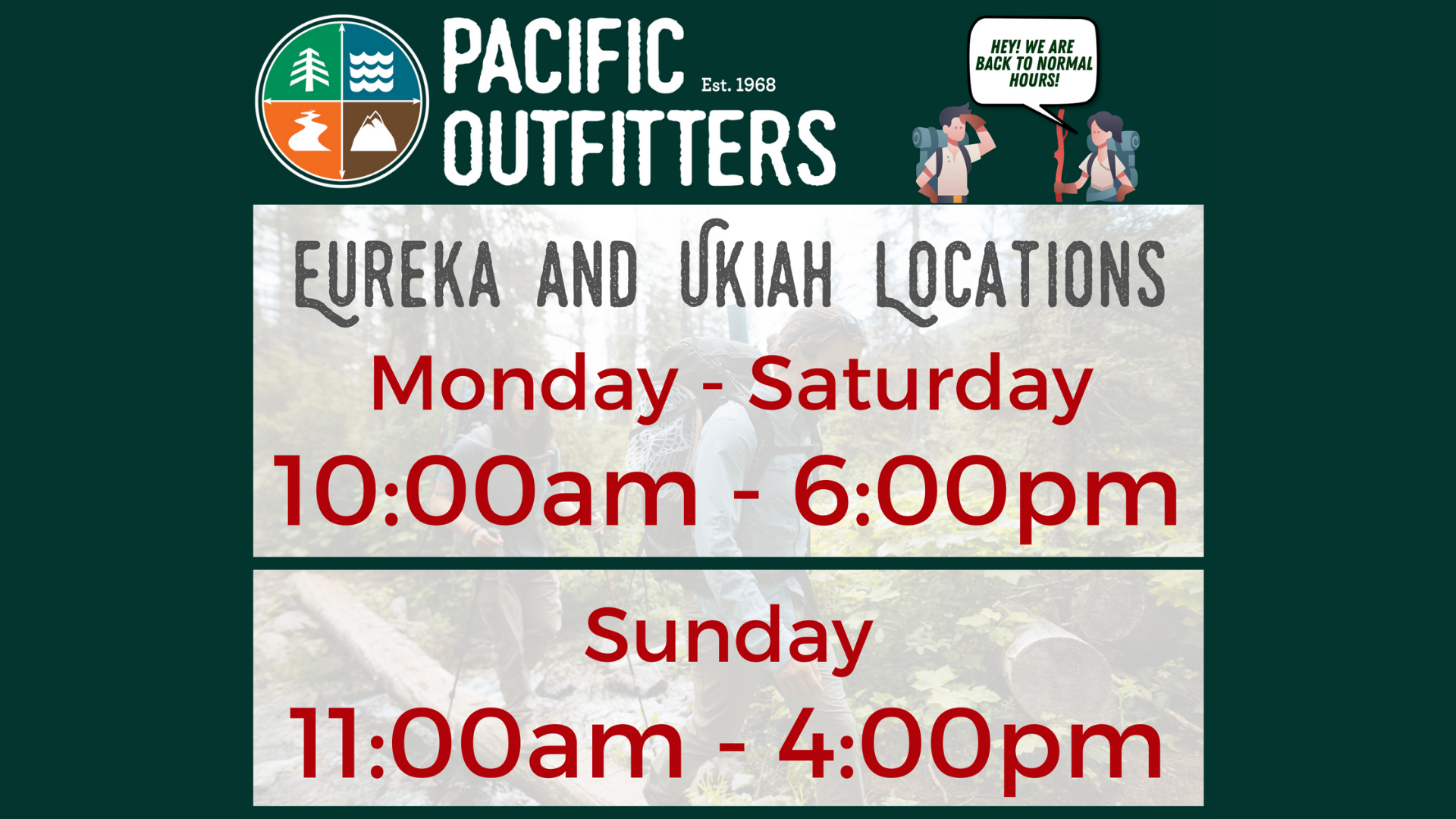 Store hours Pacific Outfitters